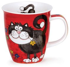 Dunoon - Fine Bone China Mugs - Nevis Shape : Crazy Gang Cat China Art, China Mugs, Fancy Cats, Teapots And Cups, Cat Mug, Cat Crafts, Cool Pets, Hand Painted Ceramics, Cat Drawing