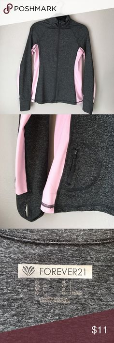 Charcoal Grey + Pink Athletic Jacket Forever 21 - Size L (fits like a small/medium) Lightweight & comfy. Small zippered pocket on back + thumb holes on sleeves. Forever 21 Jackets & Coats