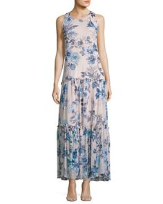 Floral-Print Chiffon Maxi Dress, White/Blue by Taylor at Neiman Marcus Last Call.