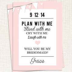 Will you be my bridesmaid? card - Bridal Party on Etsy, $16.50. I'm only pinning this because it has my birthday and my name on it. And I thought that was pretty cool.