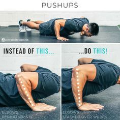 Quick pushups tip for you! AVOID THIS PUSHUP MISTAKE? At the bottom of the pushup, you want to have the elbows pretty much stacked directly over the wrists. Theres some wiggle room depending on how long your arms are, but the more you can stack your elbo Gym Workout Tips, Ab Workout At Home, Fun Workouts, At Home Workouts, Gym Tips, Workout Routines, Body Fitness, Physical Fitness, Fitness Tips