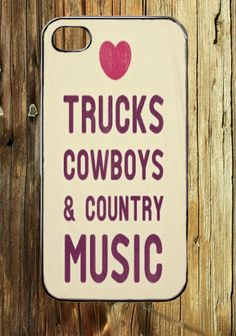 Love Trucks Cowboys Country Music  iPhone 4 / 4S or iPhone 5 Case red neck Girl