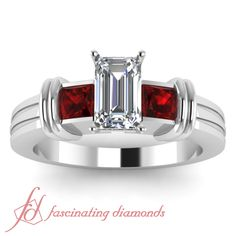 Emerald Cut Diamond and Princess Cut Red Ruby 14K White Gold Three Stone Engagement Ring in Bar Setting    Double Streak Ring