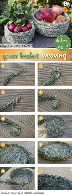 There are many ways to grass basket weaving. This simple technique is just one of many. Learn how to make your own grass basket with a step by step tutorial Brindille, Color Crafts, Pine Needles, Weaving Art, Paper Basket Weaving, Weaving For Kids, Willow Weaving, Nature Crafts, Diy Hacks