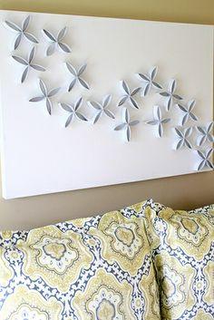 DIY Art - cut up toilet paper rolls