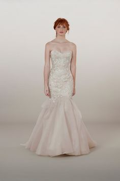 Style 5867 - Italian embroidered tulle drop-waist sweetheart mermaid gown with skirt ruffles // Gown by Liancarlo