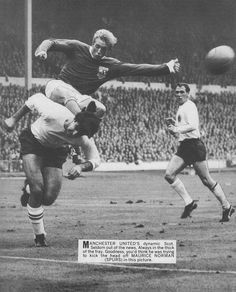 October Manchester United inside forward Denis Law, who was playing for the FIFA XI attempts to take the ball off the head of England centre half Maurice Norman, at Wembley. Denis Law, England Football, World 1, Vintage Football, Under Pressure, Manchester United, Fifa, Norman, Rest