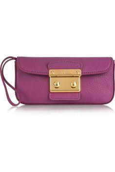 Miu Miu violet leather wristlet