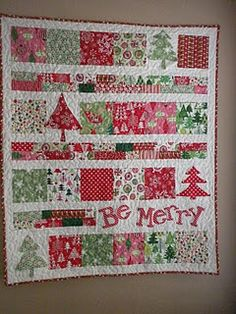I've been looking for a good Christmas quilt idea...this one has the modern look, & looks easy...I may change the lettering to Noel to make it easier