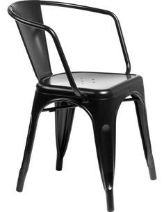 Krzesło Paris Arms czarne inspirowane Tolix