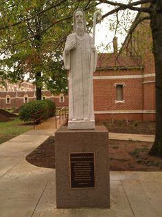 Statue of St. Benedict of Nursia in front of church at St. Gregory's Abbey, Shawnee, Oklahoma. October 9, 2011.