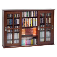 Wall Mountable Multimedia Storage Cabinet - Walnut