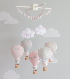 Hot Air Balloon, Baby Mobile, Pink and Gray, Nursery Decor, Heirloom Nursery, Personalized Baby Gift, i52