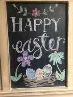 Easter chalkboard easter sayings for signs Happy Easter Chalkboard Chalk Writing, Chalkboard Writing, Chalkboard Decor, Chalkboard Lettering, Chalkboard Print, Chalkboard Designs, Blackboard Art, Chalkboard Drawings, Easter Drawings