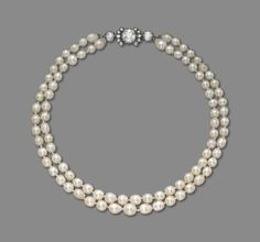 An antique natural pearl, cultured pearl and diamond necklace #christiesjewels