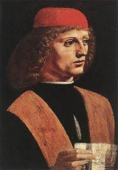 Portrait of a Musician - Leonardo Da Vinci (attr.) .  c.1485-90.  Oil on panel.  43 x 31 cm.  Pinacoteca Ambrosiana, Milan, Italy.