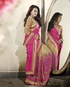 Pink and beige half and half sari with heavy embroidered pleats   1. Beige and pink net tissue cotton sari2. Comes with matching unstitched blouse material