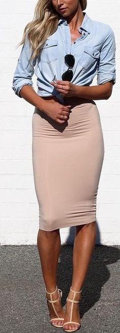 #fall #kookai #australia #outfits | Chambray Shirt + Body Con Skirt