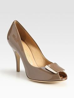 Salvatore Ferragamo  Patent Leather Peep Toe Pumps
