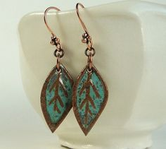 Ceramic Earrings, Stoneware Leaf earrings in African Turquoise glaze, drop earrings, ceramic jewelry, handcarved, boho chic dangle