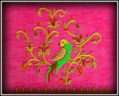 # Hand Embroidery parrot designs by Angalakruthi #Parrot hand embroidery design on blouse