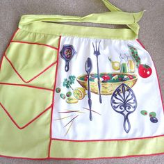 Vtg Half Apron Pockets Salad Making Yellow Lime Green White Retro Wilendur Like