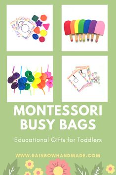 Montessori busy bags for toddlers, toddler busy bags, busy bags for toddlers, toddler activities, toddler games, toddler travel toys by Rainbow Handmade Store on Etsy.