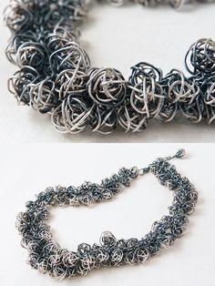 """Necklace   Kathy Frey. """"Waterfall"""". Sterling and oxidized sterling silver."""