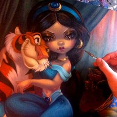 "Rajah's face!! Work-in-progress""Princess Jasmine and Rajah"" - Will debut at Disneyland's WonderGround Gallery July 8-10th (details here https://www.facebook.com/events/1725524441016336/ ) #jasminebecketgriffith #strangeling"