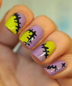 The Happy Sloths: All Patched Up: Halloween Nail Art Design