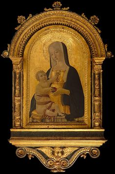 """Madonna and Child,"" Benvenuto di Giovanni, tempera on panel with gold ground, c. 1470. Metropolitan Museum of Art accession no. 1975.1.54"