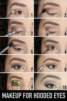 Natural Eye Makeup for Hooded Eyes – Watch the step-by-step video here: youtu.be… Natural Eye Makeup for Hooded Eyes – Watch the step-by-step video here: How to apply eyeshadow, eyeliner, mascara, and shape brows for hooded eyes using drugstore makeup. Eye Makeup Steps, Smokey Eye Makeup, Eyeshadow Makeup, How To Makeup, Easy Eye Makeup, Subtle Eye Makeup, Eyeshadow Step By Step, Makeup Light, Natural Eye Makeup