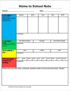 SCHOOL TO HOME/HOME TO SCHOOL COMMUNICATION NOTES - Special Needs Nook - TeachersPayTeachers.com