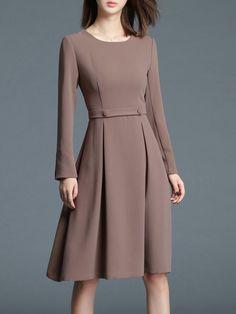 Shop Midi Dresses - Khaki Plain Elegant A-line Midi Dress online. Discover unique designers fashion at StyleWe.com.