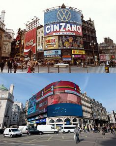 London circa 1972 and the same setting in 2012 - Piccadilly Circus. Vintage London, Old London, South London, British Values, Swinging London, Victorian Buildings, Piccadilly Circus, London History, London Pictures