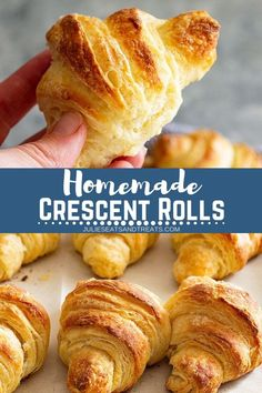 These Homemade Crescent Rolls will become a staple at your dinner table. They are easy to make, flaky, tender, and take much less time to make than c. Cresent Roll Dough Recipe, Homemade Cresent Rolls, Homemade Rolls, Homemade Croissants, Homemade Biscuits, Crescent Rolls, Crescent Roll Dough, Dinner Rolls Recipe, Crescent Roll Recipes