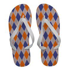 Orange and Blue Argyle Pattern Flip Flops Sandals