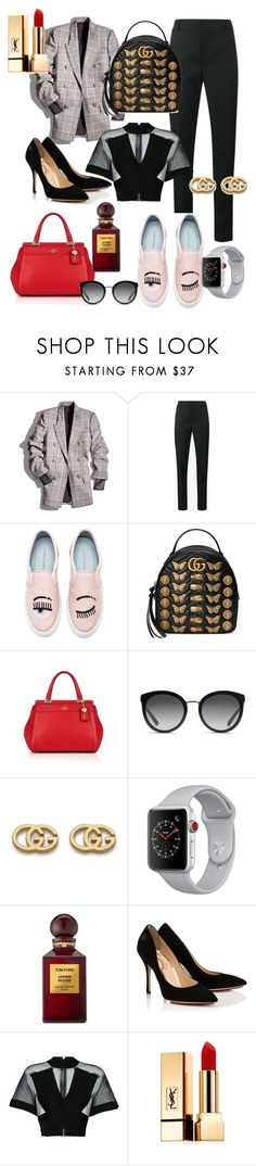 """""""Daytime/nighttime looks just by changing shoes and bags."""" by nelli-dc ❤ liked on Polyvore featuring Alexander Wang, Yves Saint Laurent, Chiara Ferragni, Gucci, Coach, Dolce&Gabbana, Apple, Tom Ford and Balmain"""