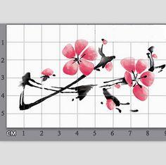 1pc flor del ciruelo chino tatuaje temporal por MaomaoCreation