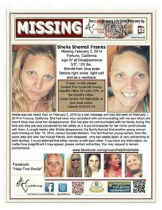 PLEASE SHARE!!!!!! PLEASE SHOW SHEILA'S BOYS PEOPLE DO CARE AND WANT TO HELP FIND THEIR MOM Missing Loved Ones, Missing Persons, 120 Lbs, Humboldt County, Amber Alert, Kids Poster, January 11, Cold Case, Interesting Reads