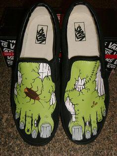 e3f4f1dc7232 CUSTOM ORDER for TIFFANIE - Handpainted Blue Zombie Feet Shoes