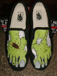 Handpainted Zombie Feet Shoes. $110.00, via Etsy.