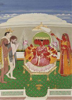 circa 1820 India, Kangra or Guler. The Nitya Devis are a group of - Nitya Devis. circa 1820 India, Kangra or Guler. The Nitya Devis are a group of 15 tantric goddesses - Indian Goddess, Durga Goddess, Southeast Asian Arts, Hindu Art, Indian Paintings, Gods And Goddesses, Religious Art, Indian Art, Om Namah Shivaya