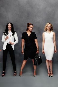 Cast members of Orange is the New Black modeling clothing from Gilt's collaboration with Dress for Success