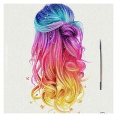 I'm dying my hair to that! I'm dying my hair to that! It totally reminds me of the insta logo…. Pelo Multicolor, Eyes Artwork, Dying My Hair, Hair Sketch, Unicorn Hair, How To Draw Hair, Rainbow Hair, Cool Hair Color, Grunge Hair
