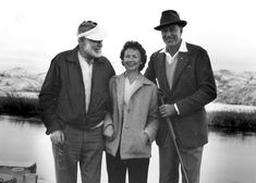 Hemingway bird-hunting at Silver Creek, near Picabo, Idaho. January 1959. With him are Gary Cooper and Bobbie Powell.