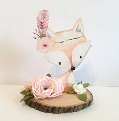 Real Wood Slice Woodland Baby Shower Decor Centerpieces Nursery Centerpiece Decorations Flowers Floral Pink Girl Showers Fox Animal Cut Out - PLEASE NOTE! The real wood slice is real, therefore actual pieces of bark or crumbs may come off -