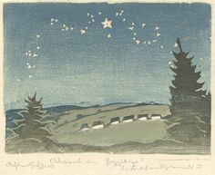 Erich Buchwald-Zinnwald. 1857. Christmas in the Ore Mountains,  color woodcut