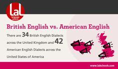 British English vs. American English - Mini-infographic by LAL Language Centres http://www.lalschools.com/