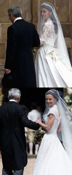 May 20, 2017 - Their father walked them both in. - Pippa Middleton's Wedding That Are Exactly the Same as Kate Middleton's Wedding - WomansDay.com
